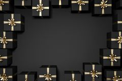 Top view of room with black and gold gifts frame