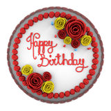 Top view of round birthday cake with candles on dish isolated Stock Photos