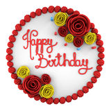 Top view of round birthday cake with candles on dish isolated. On white background Stock Photography