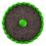 Top view of round chocolate cake with green cream isolated Stock Photo