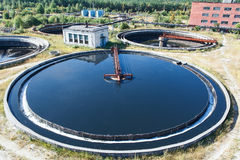 Top view on round form water treatment settler Royalty Free Stock Photo
