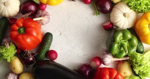 Circle of colorful vegetables mix stock video footage