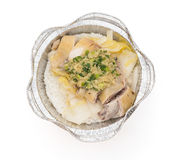 Top view round shape lunch box of boiled chicken slices with clipping path Stock Photography