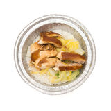 Top view round shape lunch box of chicken slices with clipping path Royalty Free Stock Photography