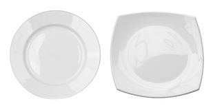Top view of round and square plates set isolated Royalty Free Stock Image