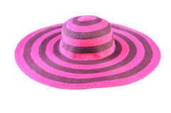 Top view of a round straw hat isolated on a white background. Stock Image