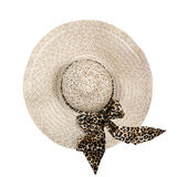 Top view of a round straw hat on a white background. Royalty Free Stock Image