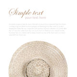 Top view of a round straw hat on a white background. Stock Photography