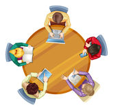 Top view of round table with business people Stock Image