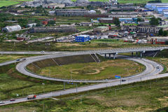 Top view of roundabout intersection, ring road Stock Photos