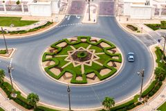 Top view of a roundabout on the road in Abu Dhabi, UAE. Top view of a a roundabout on the road in Abu Dhabi, UAE stock image