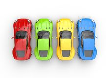 Top view on row of multicolored cars on white background Stock Photography
