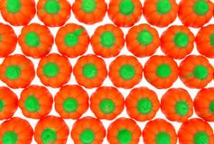 Top view rows of Halloween pumpkin candy Stock Photography