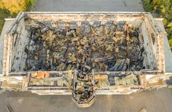 Top view of ruined damaged destroyed building after war f royalty free stock image