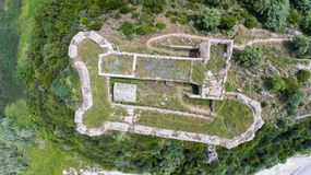 Top view of the ruins of a stone medieval castle of Grivas, Lefkada, Greece.  royalty free stock images