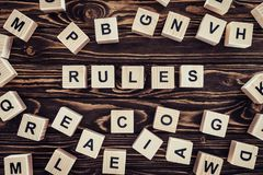 top view of rules word made of wooden blocks royalty free stock photos