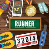 Top View Runner Gears On Wooden Plank. Vector Illustration Stock Photo