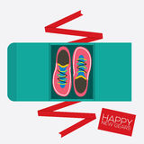 Top View Of Running Shoes Gift. Stock Photo
