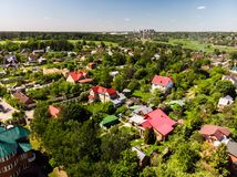 Top view of rural houses in Moscow region, Russia royalty free stock images