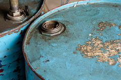 Top view of rusted old blue barrel. Stock Photo