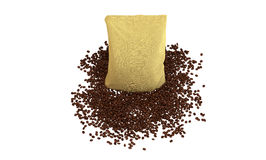 Top view of Sacking Pack on coffee beans Stock Photos