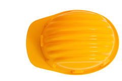 Top view of safety, construction protection helmet isolated whit. E background Royalty Free Stock Images
