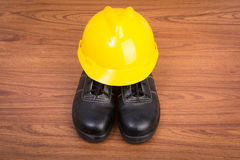 Top view safety shoes and composition of working tools Royalty Free Stock Photo