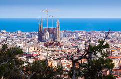 Top view  with Sagrada Familia Stock Photos