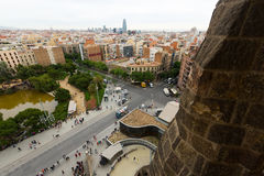 Top view from Sagrada Familia in Barcelona Royalty Free Stock Photo