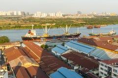 Top view of the Saigon Port. Royalty Free Stock Image