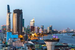 Top view of Saigon River at night time. Stock Images