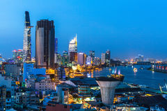 Top view of Saigon River at night time. Royalty Free Stock Images