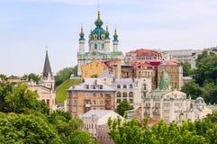 Saint Andrew`s church and Andriivska street from above, Kyiv, Ukraine. royalty free stock photography