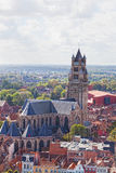 Top view of the Saint Salvator Cathedral. In Bruges, Belgium Royalty Free Stock Image