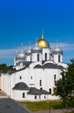 The top view on Saint Sophia cathedral in Kremlin, Great Novgorod, Russia.Close up in a sunny day Royalty Free Stock Photos