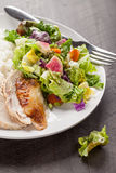 Top view of salad and chicken on dark wood. Italian salad with rotisserie chicken and white rice top view on dark wood Royalty Free Stock Photo