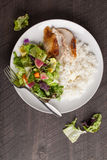 Top view of salad with chicken. Italian salad with rotisserie chicken and white rice top view Royalty Free Stock Photography