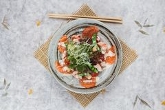Top view of Salmon and shrimp salad with red oak, pea, crouton with mayonnaise topping with wild rocket. Top view of Salmon and shrimp salad with red oak, pea Stock Photography