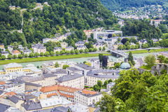 Top view of the Salzach River and the center of Salzburg Stock Image