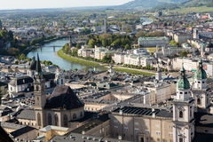 Top view of the Salzach river and the old city in center of Salzburg, Austria. From the walls of the fortress / Festung Hohensalzburg Stock Photo