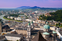 Top view on Salzburg city. From Hohensalzburg fortress at summer. Austria stock photo
