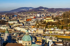 Top view on Salzburg city from Hohensalzburg fortress at winter Royalty Free Stock Photos