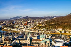 Top view on Salzburg city from Hohensalzburg fortress at winter Royalty Free Stock Image
