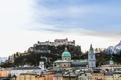 Top view on Salzburg city and Hohensalzburg fortress at winter, Royalty Free Stock Photos