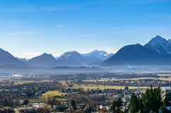 Top view on Salzburg city from Hohensalzburg fortress at winter Stock Photography