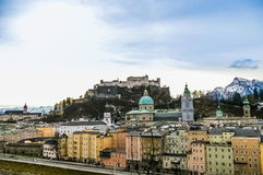 Top view on Salzburg city and Hohensalzburg fortress at winter, Royalty Free Stock Image
