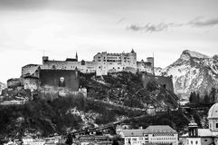 Top view on Salzburg city and Hohensalzburg fortress at winter, Royalty Free Stock Photography