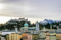 Top view on Salzburg city and Hohensalzburg fortress at winter, Stock Image