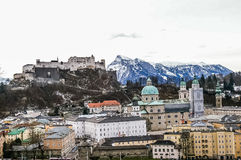 Top view on Salzburg city and Hohensalzburg fortress at winter, Royalty Free Stock Photo