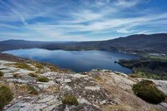 Top view of Sanabria lake (Spain) Stock Photo